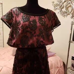 Black and burgundy cocktail dress